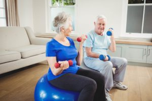 Senior couple sitting on fitness balls with dumbbells