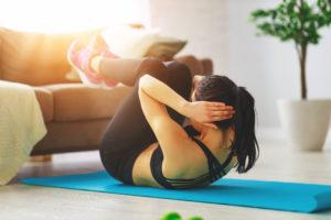 A diabetic young woman exercising