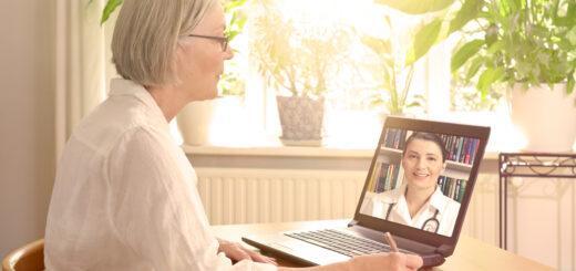 Senior with virtual doctor